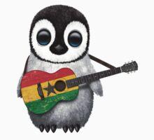 Baby Penguin Playing Ghana Flag Guitar Kids Tee