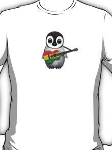 Baby Penguin Playing Ghana Flag Guitar T-Shirt