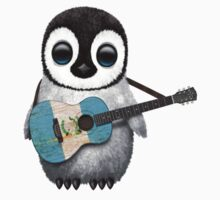 Baby Penguin Playing Guatemalan Flag Guitar T-Shirt