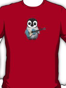 Baby Penguin Playing Guatemalan Flag Guitar T-Shirt