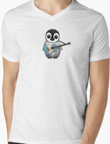Baby Penguin Playing Guatemalan Flag Guitar Mens V-Neck T-Shirt