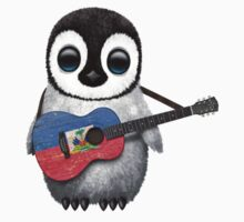 Baby Penguin Playing Haitian Flag Guitar Kids Clothes