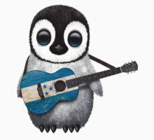 Baby Penguin Playing Honduran Flag Guitar Kids Clothes
