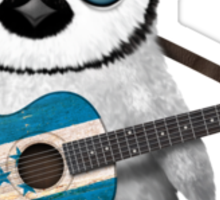 Baby Penguin Playing Honduran Flag Guitar Sticker