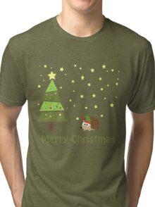 Cute hedgehog Christmas Scene Tri-blend T-Shirt