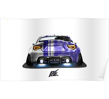 naquash design toyota gt86 with wide body race purple rear end Poster