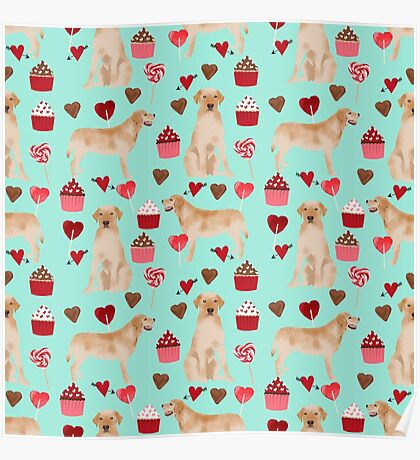 Yellow Labrador Retriever valentines day gift for yellow lab owner must have hearts love valentine by PetFriendly Poster