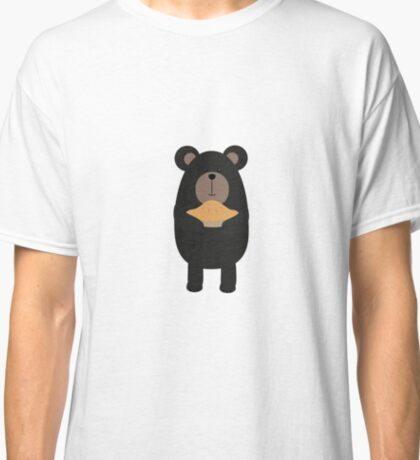 Black Bear with pie Classic T-Shirt