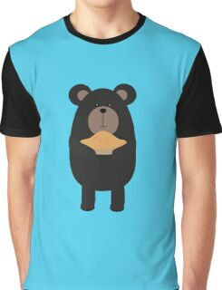 Black Bear with pie Graphic T-Shirt