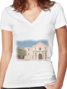 The Alamo Facade Women's Fitted V-Neck T-Shirt