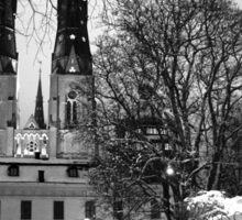 Uppsala Cathedral, Black and white winter wonderland Sticker