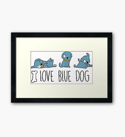 I love blue dog, funny blue dog illustration Framed Print