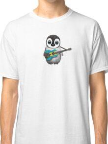 Baby Penguin Playing Bahamas Flag Guitar Classic T-Shirt