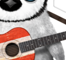 Baby Penguin Playing Austrian Flag Guitar Sticker