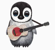 Baby Penguin Playing Japanese Flag Guitar One Piece - Short Sleeve