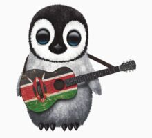 Baby Penguin Playing Kenyan Flag Guitar Kids Clothes