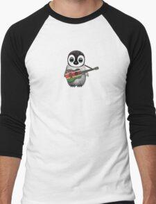 Baby Penguin Playing Kenyan Flag Guitar Men's Baseball ¾ T-Shirt