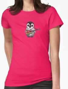Baby Penguin Playing Kenyan Flag Guitar Womens Fitted T-Shirt