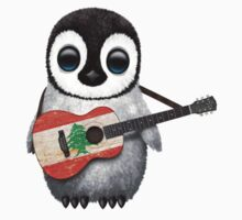 Baby Penguin Playing Lebanese Flag Guitar T-Shirt