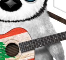 Baby Penguin Playing Lebanese Flag Guitar Sticker
