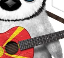 Baby Penguin Playing Macedonian Flag Guitar Sticker