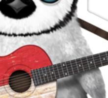 Baby Penguin Playing Monaco Flag Guitar Sticker