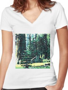 Abstract Forest House Women's Fitted V-Neck T-Shirt