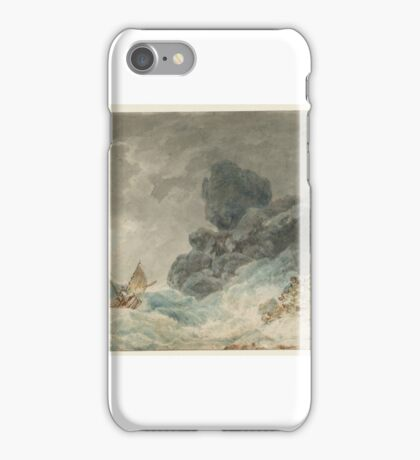 Joseph Mallord William Turner    A Rocky Shore, with Men Attempting to Rescue a Storm-Tossed Boat iPhone Case/Skin