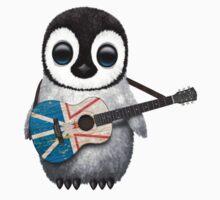 Baby Penguin Playing Newfoundland Flag Guitar One Piece - Short Sleeve