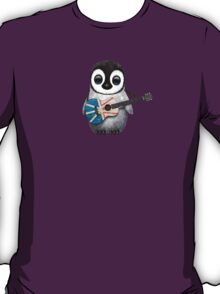 Baby Penguin Playing Newfoundland Flag Guitar T-Shirt