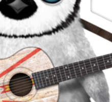 Baby Penguin Playing Newfoundland Flag Guitar Sticker