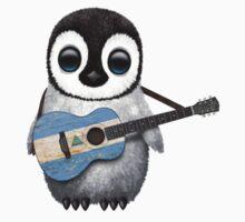 Baby Penguin Playing Nicaraguan Flag Guitar Kids Tee