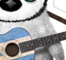 Baby Penguin Playing Nicaraguan Flag Guitar Sticker