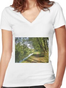 Autumn Towpath Women's Fitted V-Neck T-Shirt