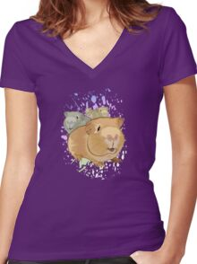 Guinea Pigs Women's Fitted V-Neck T-Shirt