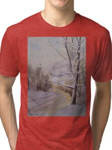 Last Winter Sunset Snow Scene Tri-blend T-Shirt
