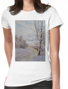 Last Winter Sunset Snow Scene Womens Fitted T-Shirt