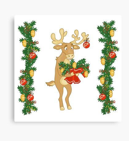 Deer Santa gives a bouquet of branches  Canvas Print