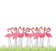 Pink Flamingos Illustration by junkydotcom