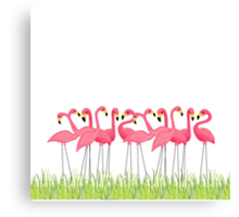 Pink Flamingos Illustration Canvas Print