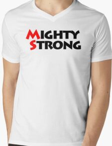 Mighty Strong Mens V-Neck T-Shirt