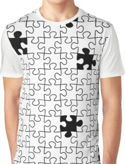 The Missing Piece - Abstract Jigsaw Puzzle Black and White Graphic T-Shirt
