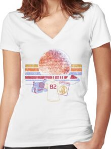Spaceship Earth and Monorail Vintage T-Shirt Women's Fitted V-Neck T-Shirt
