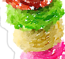 Multi Scoop Ice Cream Cone Watercolor Sticker