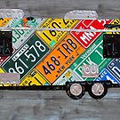 Lets Go Camping Colorful Travel Recycled Vintage License Plate Art by designturnpike
