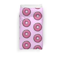 stravwberry glazed donuts with sprinkles, food hipster, modern,trendy Duvet Cover