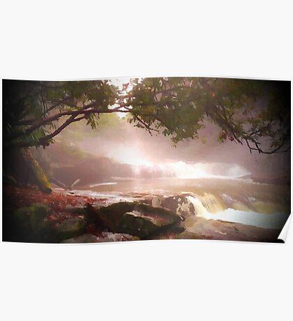 landscape waterfall lake river Poster