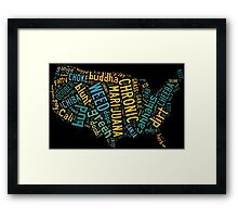 Marijuana Cannabis Weed United States USA Map Framed Print