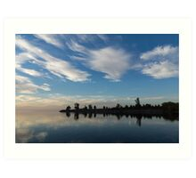 Blue and White Serenity - a Lakefront Stillness Art Print