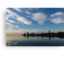 Blue and White Serenity - a Lakefront Stillness Canvas Print